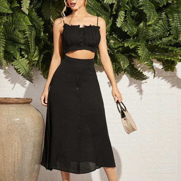 Two piece top and skirt set